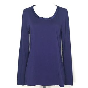 Ann Taylor Purple Split Collar Blouse Top A130328